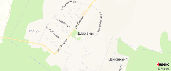 Территория СНТ Придорожный на карте Шиханы с номерами домов
