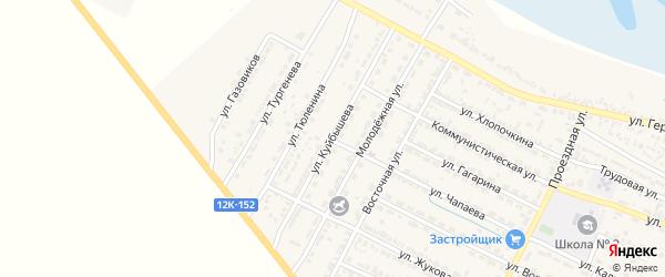 Улица Куйбышева на карте поселка Лимана Астраханской области с номерами домов