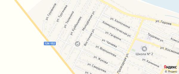 Восточная улица на карте поселка Лимана Астраханской области с номерами домов