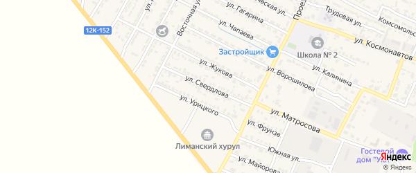 Улица Свердлова на карте поселка Лимана Астраханской области с номерами домов