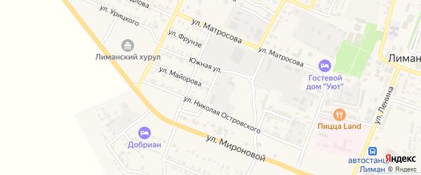 Улица В.Майорова на карте поселка Лимана Астраханской области с номерами домов