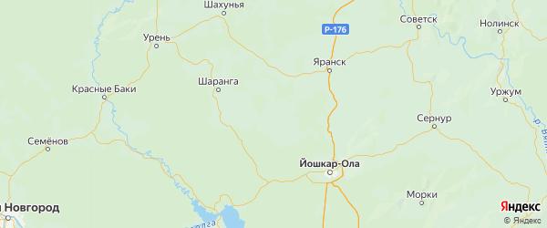 Карта Санчурского района Кировской области с городами и населенными пунктами