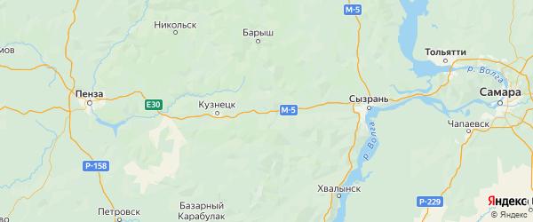Карта Николаевского района Ульяновской области с городами и населенными пунктами