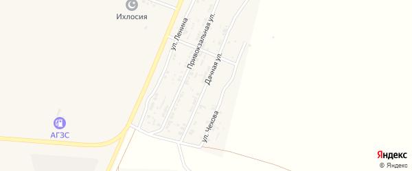 Дачная улица на карте поселка Лимана Астраханской области с номерами домов