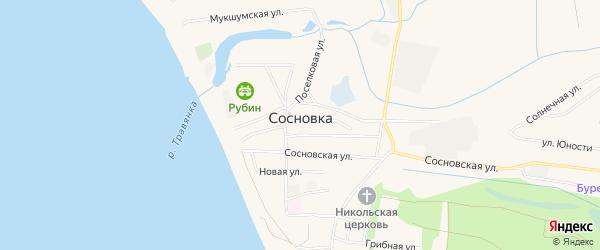 Карта поселка Сосновки города Чебоксар в Чувашии с улицами и номерами домов
