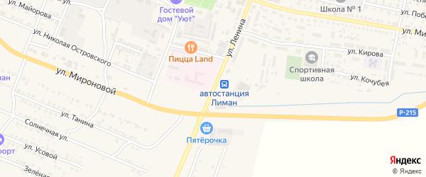 Улица Ленина на карте поселка Лимана Астраханской области с номерами домов