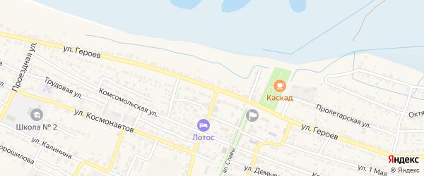 Улица Героев на карте поселка Лимана Астраханской области с номерами домов