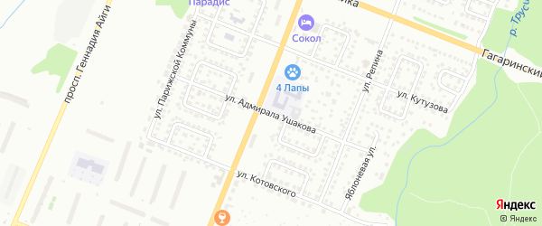 Улица Адмирала Ушакова на карте Чебоксар с номерами домов
