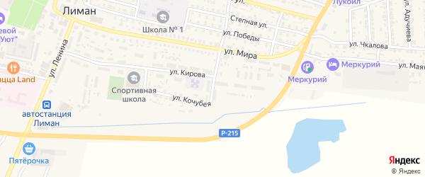 Мелиоративная улица на карте поселка Лимана Астраханской области с номерами домов