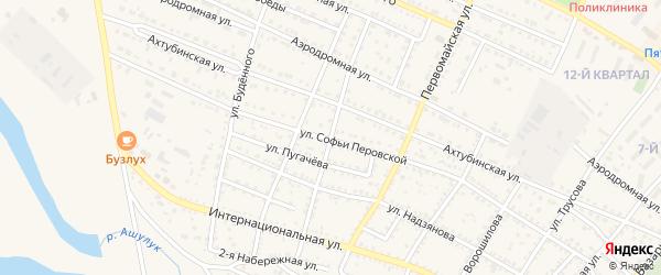Воинская улица на карте Харабали с номерами домов
