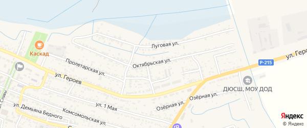 Октябрьская улица на карте поселка Лимана Астраханской области с номерами домов