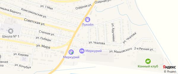 Звездная улица на карте поселка Лимана Астраханской области с номерами домов