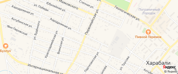 Аэродромная улица на карте Харабали с номерами домов