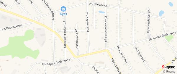 Улица Карташева на карте поселка Санчурска Кировской области с номерами домов