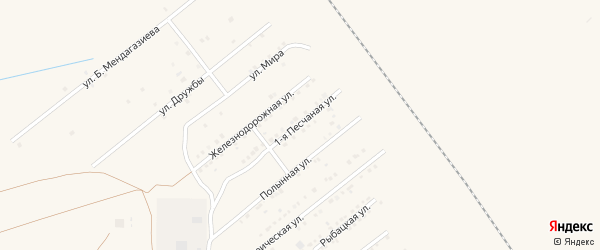 Песчаная 1-я улица на карте Харабали с номерами домов