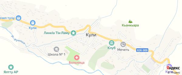 Улица Алихана Алиханова на карте села Кули Дагестана с номерами домов