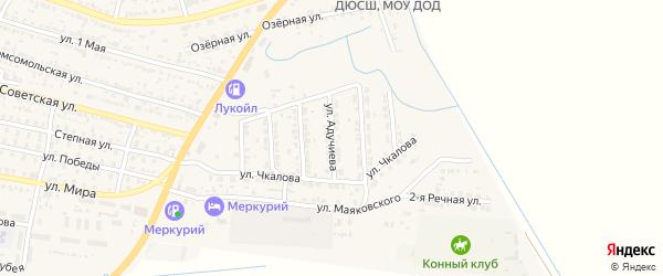 Улица Б.Адучиева на карте поселка Лимана Астраханской области с номерами домов