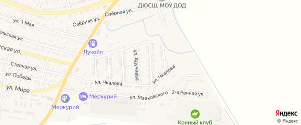 Улица Строителей на карте поселка Лимана Астраханской области с номерами домов