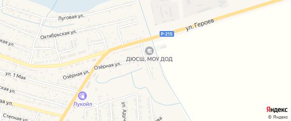 Прудовая улица на карте поселка Лимана Астраханской области с номерами домов