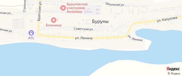 Улица Ленина на карте поселка Буруны Астраханской области с номерами домов