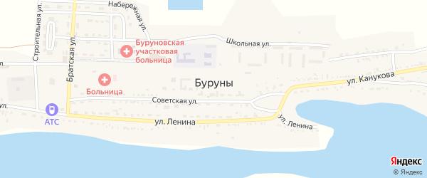 Строительная улица на карте поселка Буруны Астраханской области с номерами домов