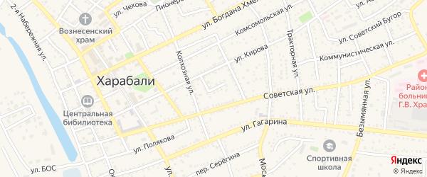 Улица Колхозный двор на карте Харабали с номерами домов