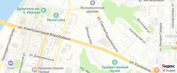 Детский переулок на карте Чебоксар с номерами домов