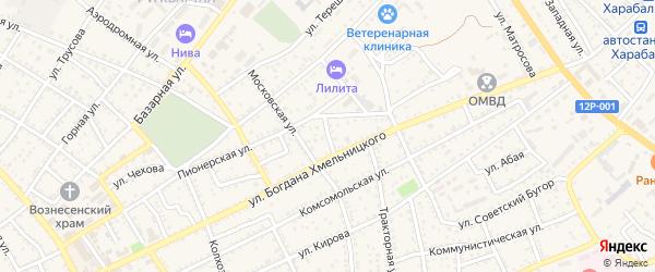 Переулок 1-й Б.Хмельницкого на карте Харабали с номерами домов