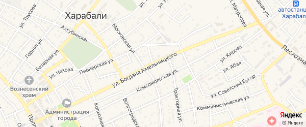 Улица Б.Хмельницкого на карте Харабали с номерами домов