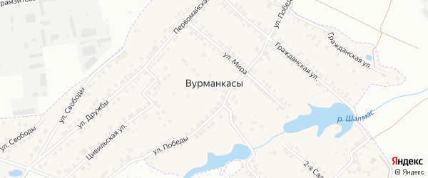 Грушевый переулок на карте деревни Вурманкасы (Вурман-Сюктерского с/п) Чувашии с номерами домов