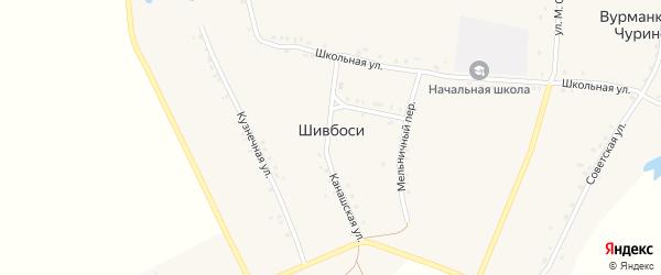 Улица М.Сеспеля на карте деревни Шивбосей с номерами домов