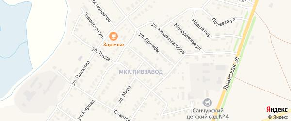 Улица Энергетиков на карте поселка Санчурска Кировской области с номерами домов