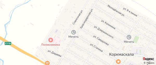 Краснодарская улица на карте села Коркмаскалы Дагестана с номерами домов
