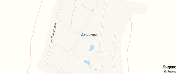 Комсомольская улица на карте деревни Атыково с номерами домов
