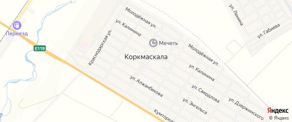 Карта села Коркмаскалы в Дагестане с улицами и номерами домов