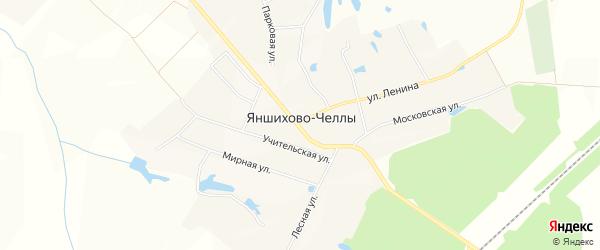 Карта деревни Яншихова-Челл в Чувашии с улицами и номерами домов