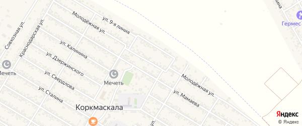Молодежная улица на карте села Коркмаскалы Дагестана с номерами домов