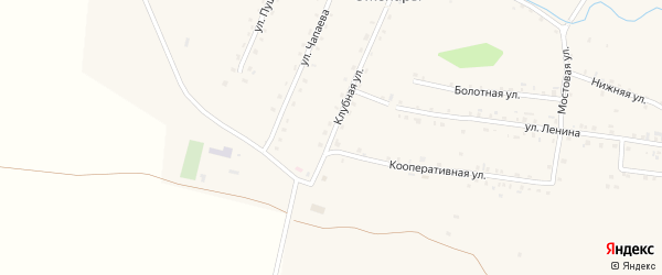 Клубная улица на карте деревни Оженары с номерами домов