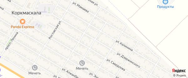 Улица Дзержинского на карте села Коркмаскалы Дагестана с номерами домов