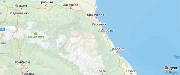 Карта Левашинского района Республики Дагестана с городами и населенными пунктами