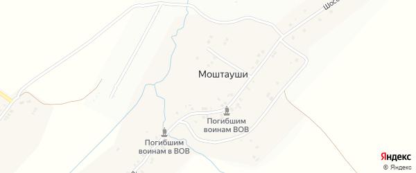 Зеленая улица на карте деревни Моштаушей с номерами домов