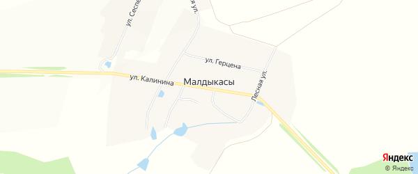 Карта деревни Малдыкас в Чувашии с улицами и номерами домов