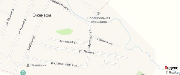 Мостовая улица на карте деревни Оженары с номерами домов