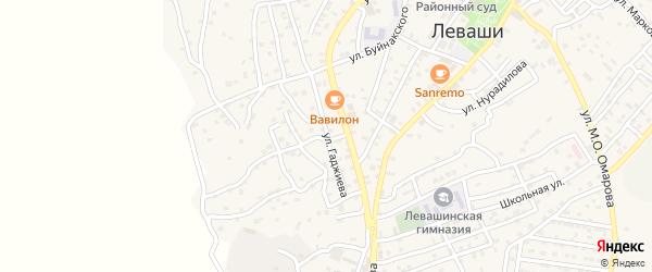 Улица М.Гаджиева на карте села Левашей Дагестана с номерами домов
