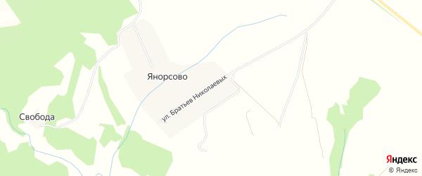 Карта деревни Янорсово в Чувашии с улицами и номерами домов