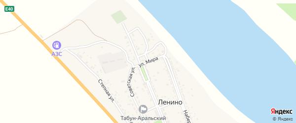 Улица Мира на карте села Ленино Астраханской области с номерами домов