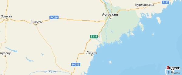 Карта Лиманского района Астраханской области с городами и населенными пунктами