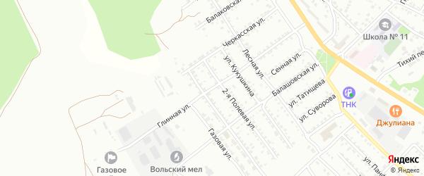 Глинная улица на карте Вольска с номерами домов
