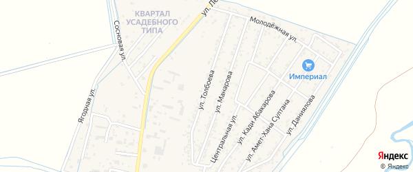 Улица Толбоева на карте поселка Шамхала с номерами домов
