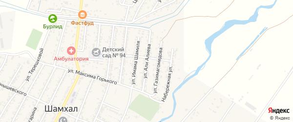 Улица Али Алиева на карте поселка Шамхала с номерами домов
